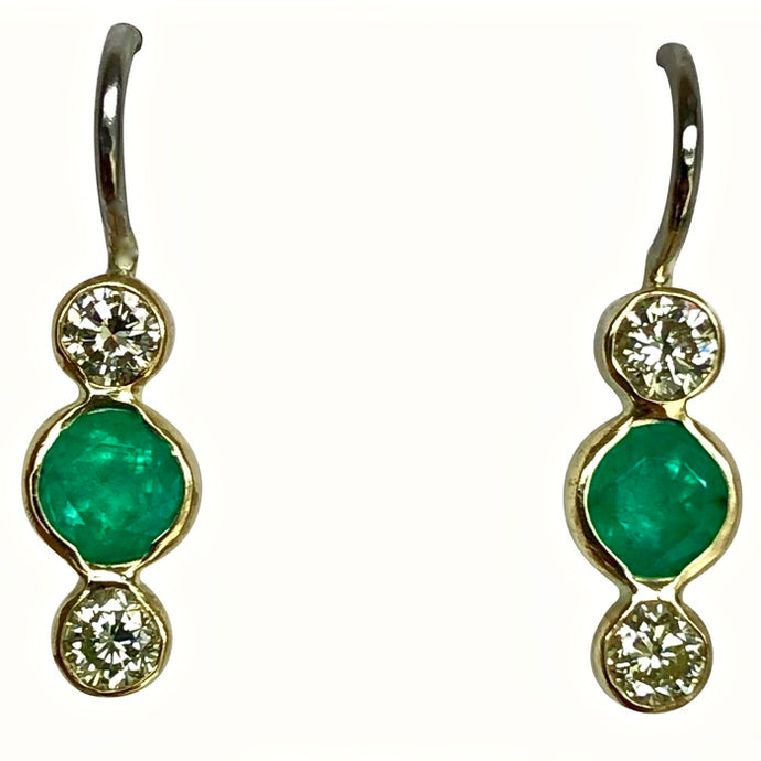 1.04 Carat Emerald Diamond 18K Gold Platinum Dangle Earrings