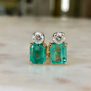 Natural Colombian Emerald Diamond Stud Earrings 18 Karat