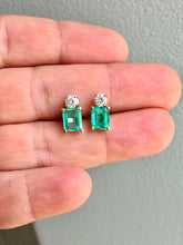 Load image into Gallery viewer, Natural Colombian Emerald Diamond Stud Earrings 18 Karat