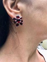Load image into Gallery viewer, 15.00 Carat Cluster Flower Garnet Earrings White Gold