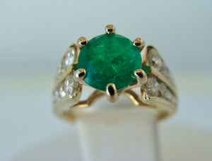 2.50 Carats Natural Round Colombian Emerald Solitaire Ring Diamond Accents 14K
