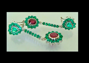Natural Emerald Ruby Dangle Earrings 18K