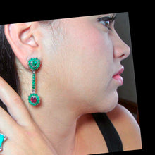 Load image into Gallery viewer, Natural Emerald Ruby Dangle Earrings 18K
