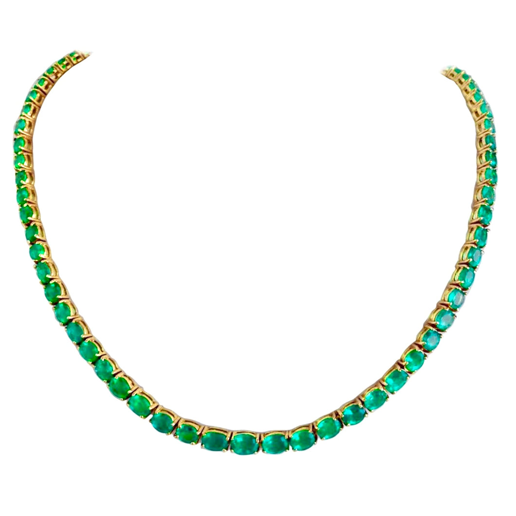 25 Carat Colombian Emerald Necklace 18k Yellow Gold