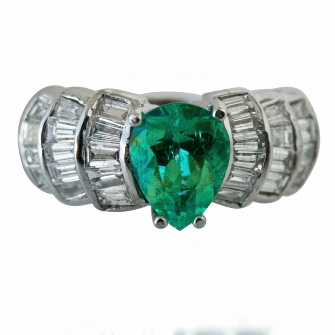 4.2 Carat Natural Colombian Emerald & Diamond Estate Ring 14K Gold
