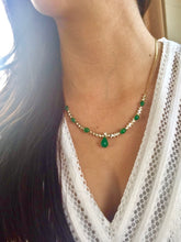 Load image into Gallery viewer, Suite Colombian Emerald Diamond Necklace and Earrings