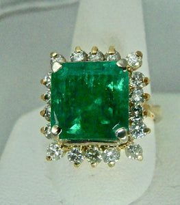 7.60 Carat Natural Colombian Emerald & Diamond Ring