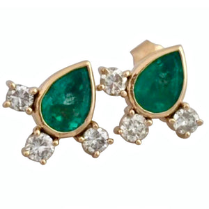 4.20 Carat Vibrant Green Colombian Emerald Pear Cut Diamond Earrings 18K