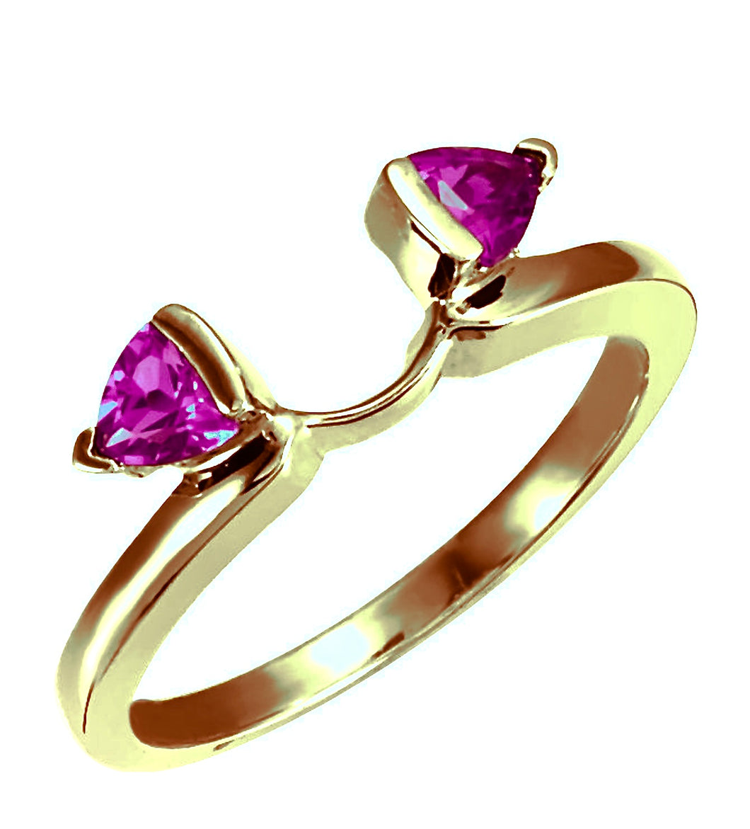 Trillion Natural Burma Ruby Wrap-Style Ring Enhancer 18K Gold