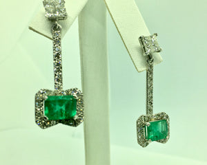 Midcentury Style Emerald and Diamond Drop Earrings 18K