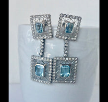 Load image into Gallery viewer, Antique style Aquamarine Diamonds Dangle Earrings 18K