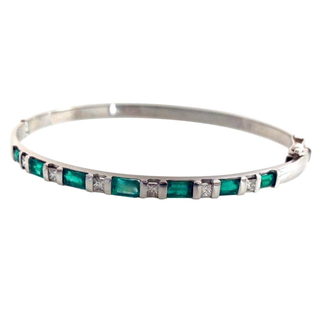 3.32 Colombian Emerald & Diamond Bangle Bracelet 18K White Gold