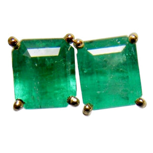 2.10ct Genuine Natural Emerald Cut Colombian Emeralds Stud Earrings 18k Gold