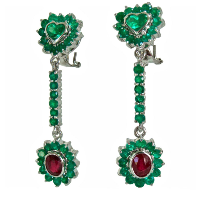Colombian Emerald and Ruby Dangle Earrings 18K White Gold