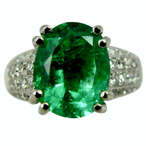 Estate Fine Emerald Diamond Engagement Ring