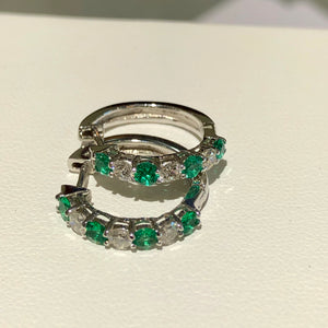 Emerald & Diamond White Gold Hoop Earrings