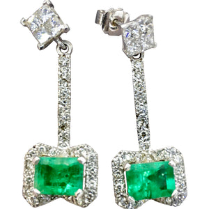 Mid Century Emerald and Diamond Drop Earrings 18K