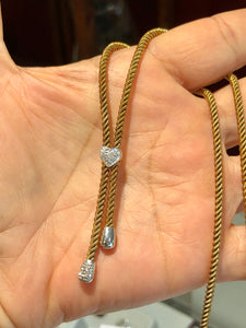 Vintage Yellow Gold Rope Chain Necklace With Diamond Accents