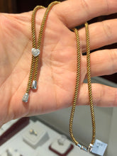 Load image into Gallery viewer, Vintage Yellow Gold Rope Chain Necklace With Diamond Accents
