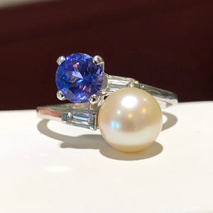 Antique Pearl Tanzanite and Diamond Platinum Ring