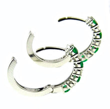 Load image into Gallery viewer, Emerald & Diamond White Gold Hoop Earrings