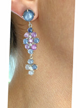 Load image into Gallery viewer, Chandeliers Art Deco Style No Heat Burma Star Sapphire Earrings