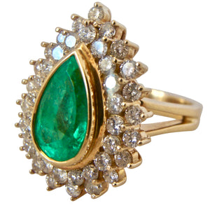 8.00ct Colombian Natural Emerald Diamonds Cocktail Ring 18K Gold