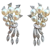 Load image into Gallery viewer, Antique Art Deco Natural Pearl Diamond Drop Earrings