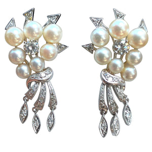 Antique Art Deco Natural Pearl Diamond Drop Earrings