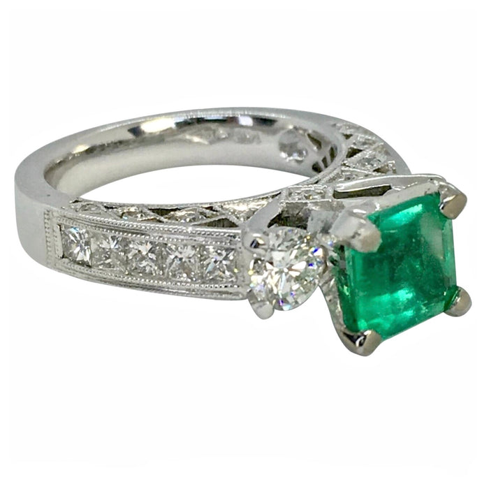 Fine Square Natural Colombian Emerald Diamond Engagement Ring
