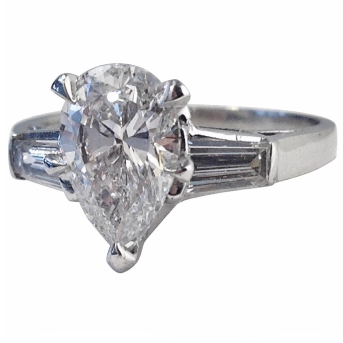 GIA Pear Cut Diamond Platinum Engagement Ring