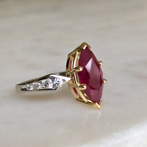 Marquise Natural Ruby Ring with Diamonds platinum & 18K