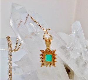 Colombian Emerald Diamond Necklace and Earrings Suite 18K