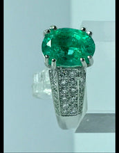 Load image into Gallery viewer, Estate Fine Emerald Diamond Engagement Ring