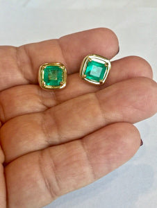Square Natural Colombian Emerald Earrings 18K Yellow Gold