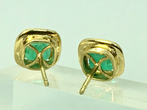 Square Colombian Emerald Earrings 18 Karat