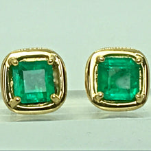 Load image into Gallery viewer, Square Colombian Emerald Earrings 18 Karat