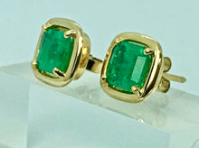 Load image into Gallery viewer, Square Natural Colombian Emerald Earrings 18K Yellow Gold