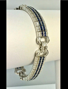 Sapphire Diamond Link Bracelet 18 Karat White Gold Estate Fine Jewelry