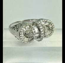 Load image into Gallery viewer, 18K White Gold Baguette Round Diamond Medley Big Cocktail Ring