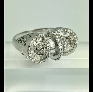 18K White Gold Baguette Round Diamond Medley Big Cocktail Ring