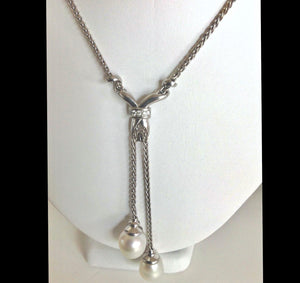 Diamond 14mm South Sea Pearl  Pendant Necklace 18K White Gold
