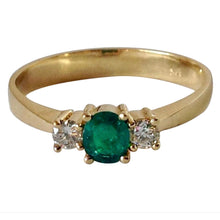 Load image into Gallery viewer, Natural Round Cut Emerald & Diamond Engagement Ring 18K Gold