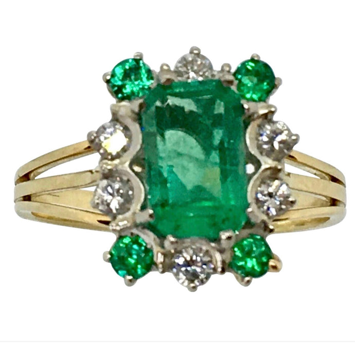 Vintage Colombian Emerald Solitaire Ring with Accents 18K