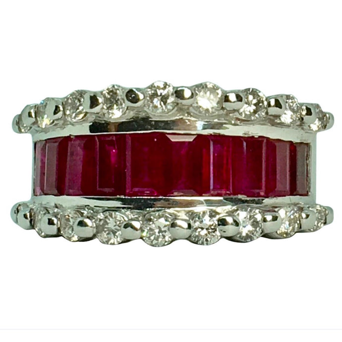 Fine Ruby Diamond Band Ring White Gold