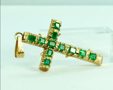 Load image into Gallery viewer, Natural Colombian Emerald Cross Pendant 18k Yellow Gold