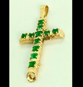 Natural Colombian Emerald Cross Pendant 18k Yellow Gold