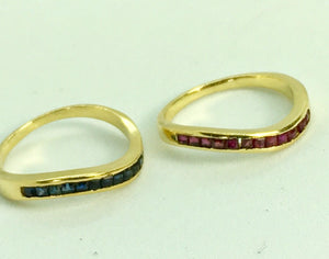 Ruby & Sapphire Eternity Band  Ring 18K