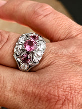 Load image into Gallery viewer, Antique Art Deco Sapphire Diamond Palladium Ring