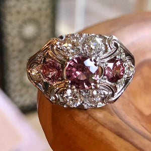 Antique Art Deco Sapphire Diamond Palladium Ring